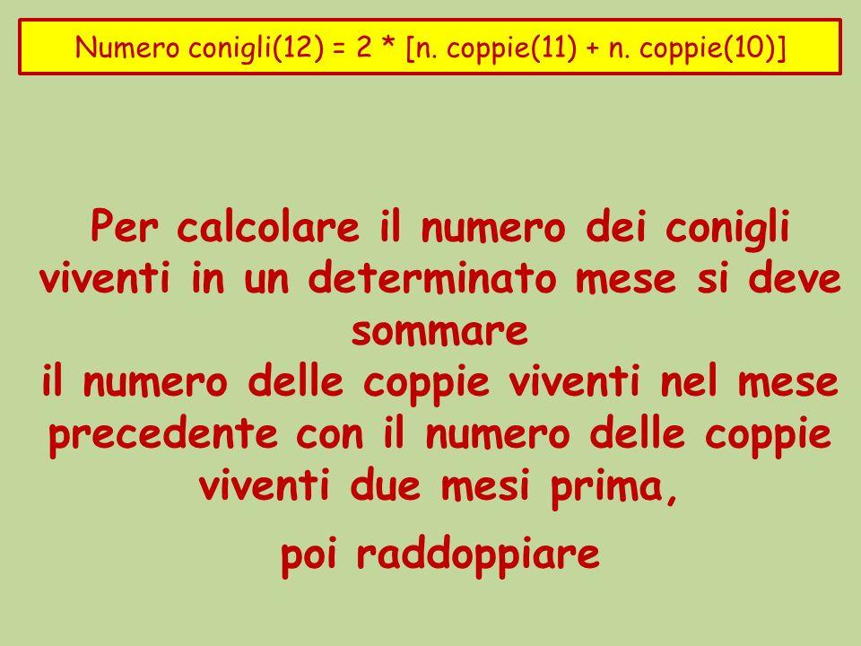 Numero conigli(12) = 2 * [n. coppie(11) + n. coppie(10)]